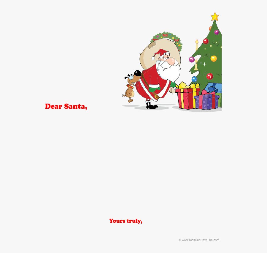 Transparent Santa List Clipart - Santa Putting Presents Under Tree Cartoon, Transparent Clipart