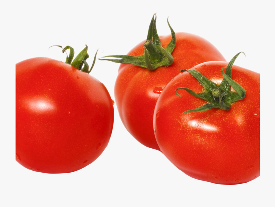 Three Tomatoes With Green Leaves Png Image - Tomato Png, Transparent Clipart