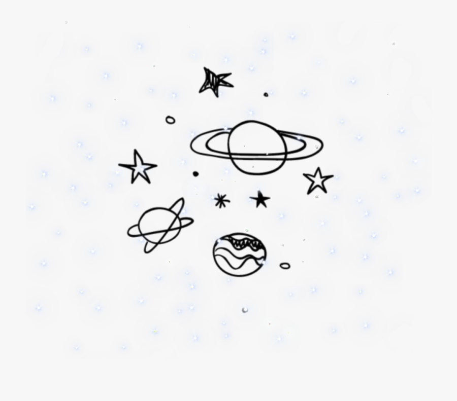 #galaxy #space #background #overlay #aesthetic #icon - Stars And Planets Black And White, Transparent Clipart