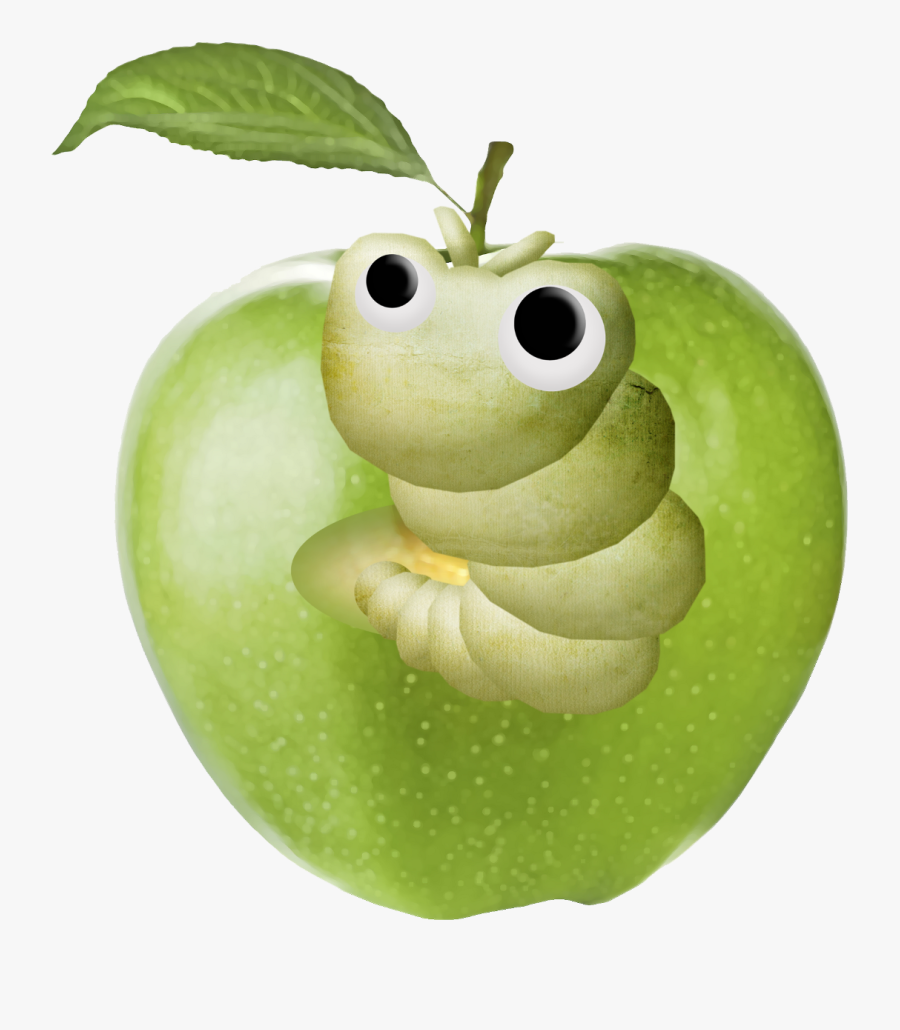 #mq #apple #worm #worms #eat #apples #green - Apple Worm Cartoon Png, Transparent Clipart