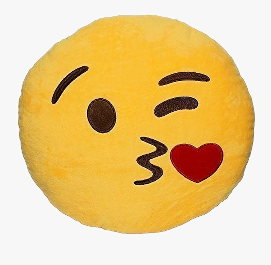 Blowing Flying Kisses Emoticons - Kissing Face Emoji Pillow, Transparent Clipart