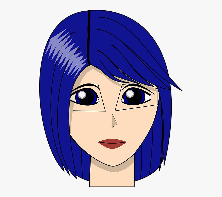 Girl, Face, Head, Blue, Hair, Eyes, Lady, Woman, Young - Girl With Blue Hair Cartoon, Transparent Clipart