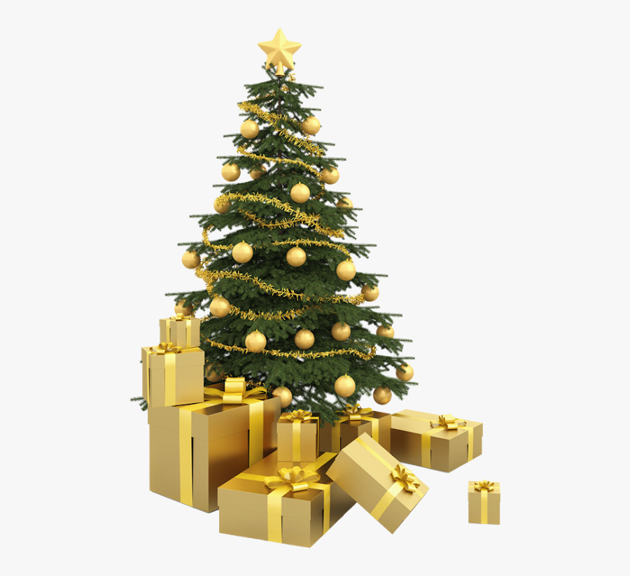 Gold Christmas Tree Png, Transparent Clipart