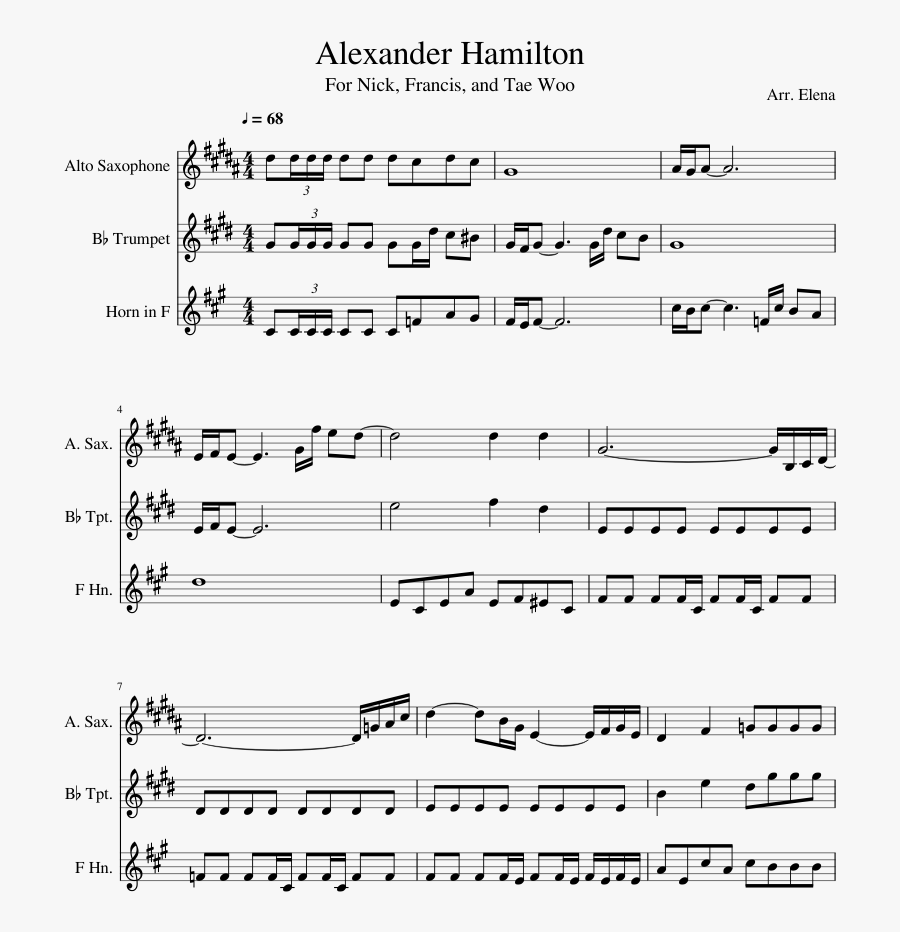 Alexander Hamilton Sheet Music Composed By Arr - House Of Woodcock Piano, Transparent Clipart