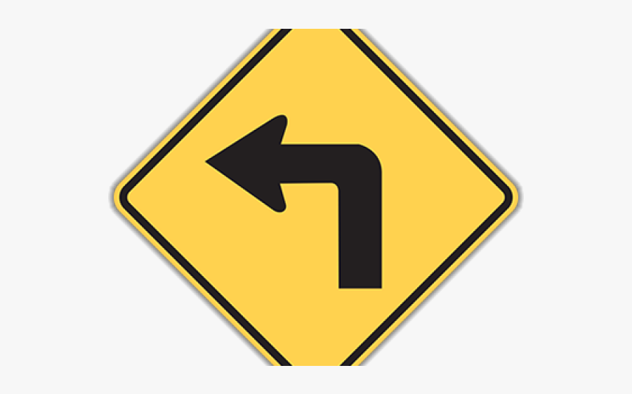Road Danger Signs - Left Turn Traffic Sign, Transparent Clipart