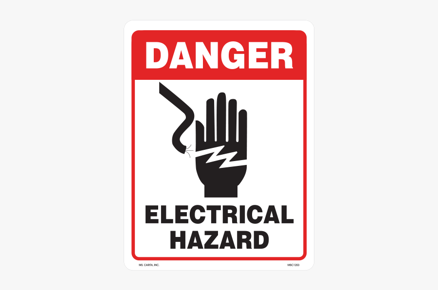 Electricity Hazard Label High Warning Safety Voltage - Hand Electric Sign, Transparent Clipart