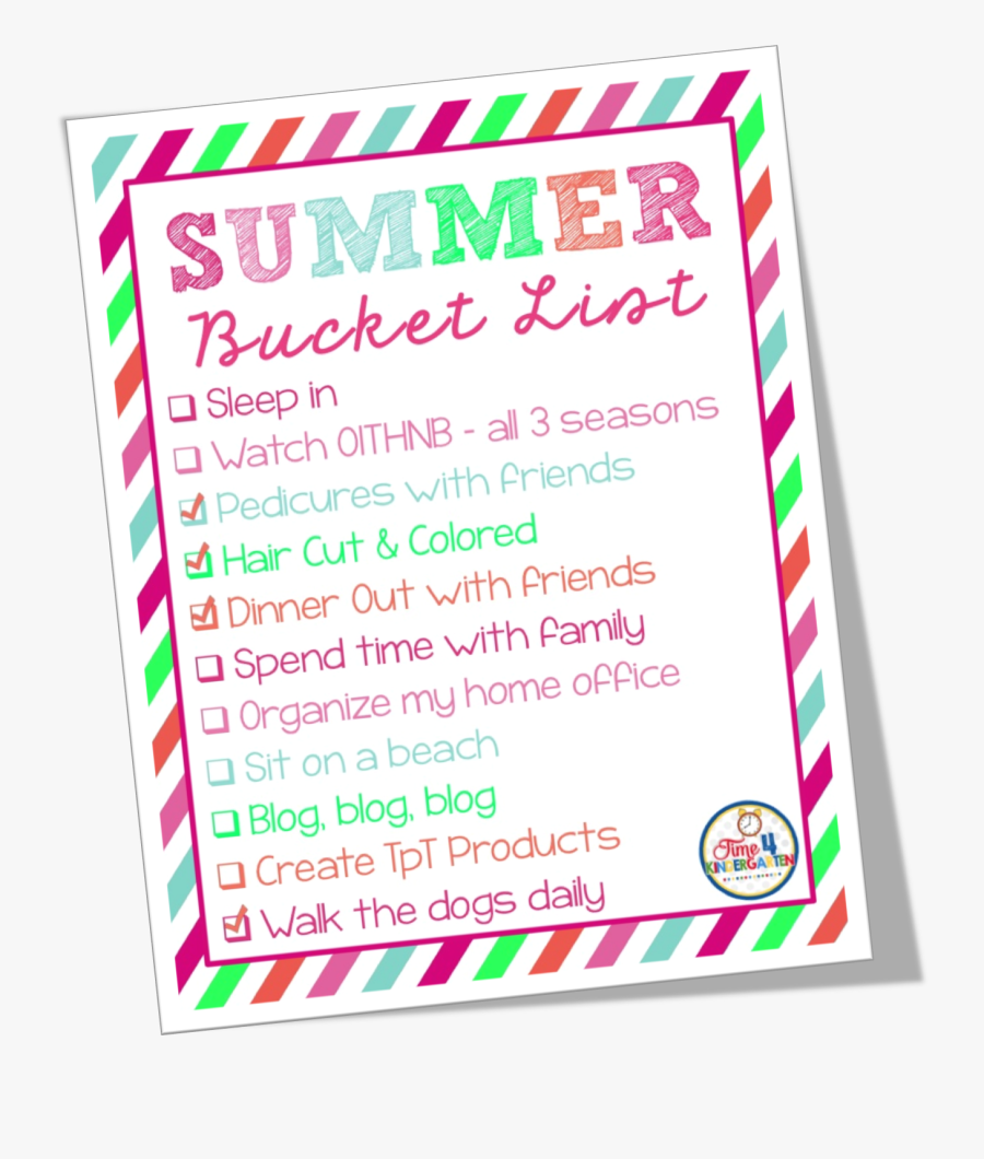 Kindergarten Summer Bucket List, Transparent Clipart