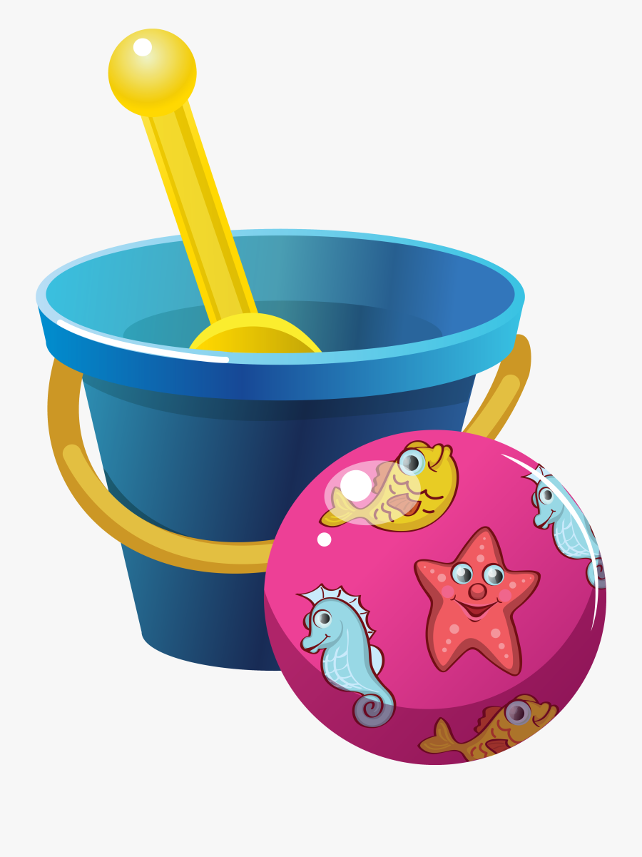 Beach Bucket And Ball Png Clipart Image - Beach Bucket Spade Clipart, Transparent Clipart