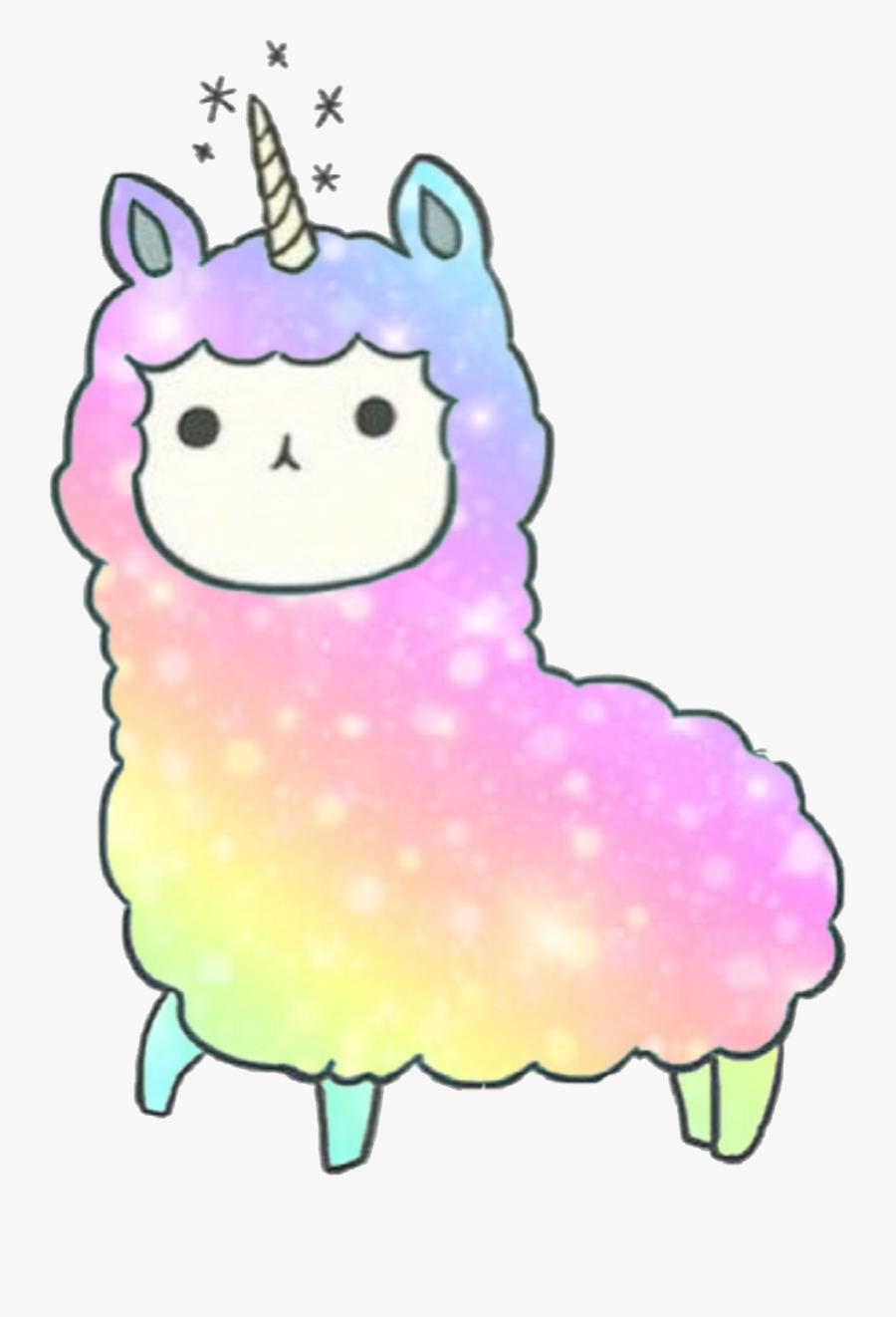 #kawaii #llama #llamacorn Dedicated To @kandygamergirl - Kawaii Unicorn Coloring Pages, Transparent Clipart