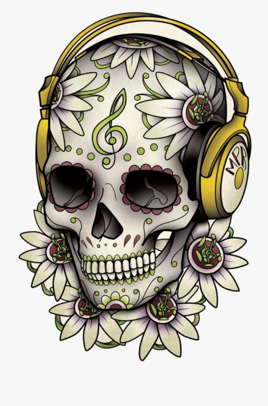 Tattoo Skull Calavera Dead Drawing Of The Clipart - Day Of The Dead Skull Music, Transparent Clipart