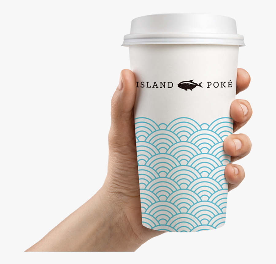 Island Poke Graphic Design Packaging Coffee Cup Paper - Hand Holding Bottle Mockup, Transparent Clipart