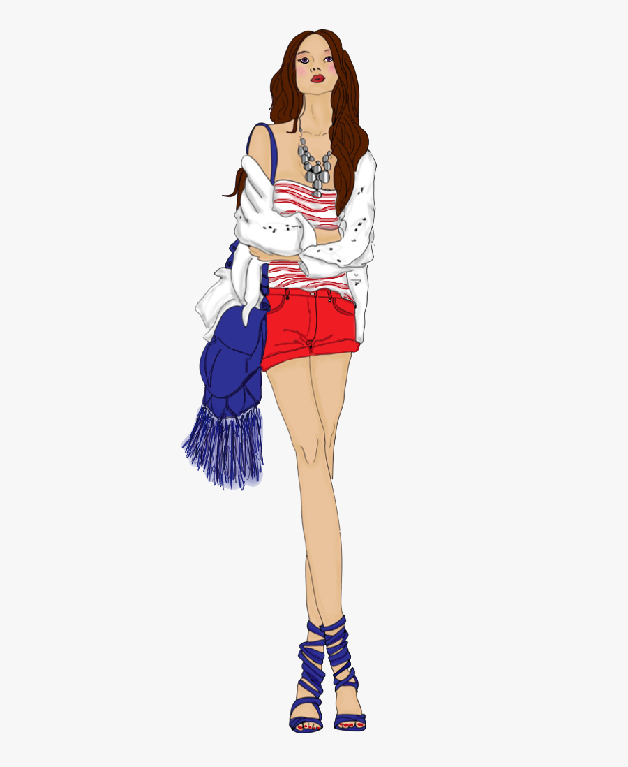 Model Fashion Design Sketch Free Transparent Image - Fashion Model Sketch Png, Transparent Clipart