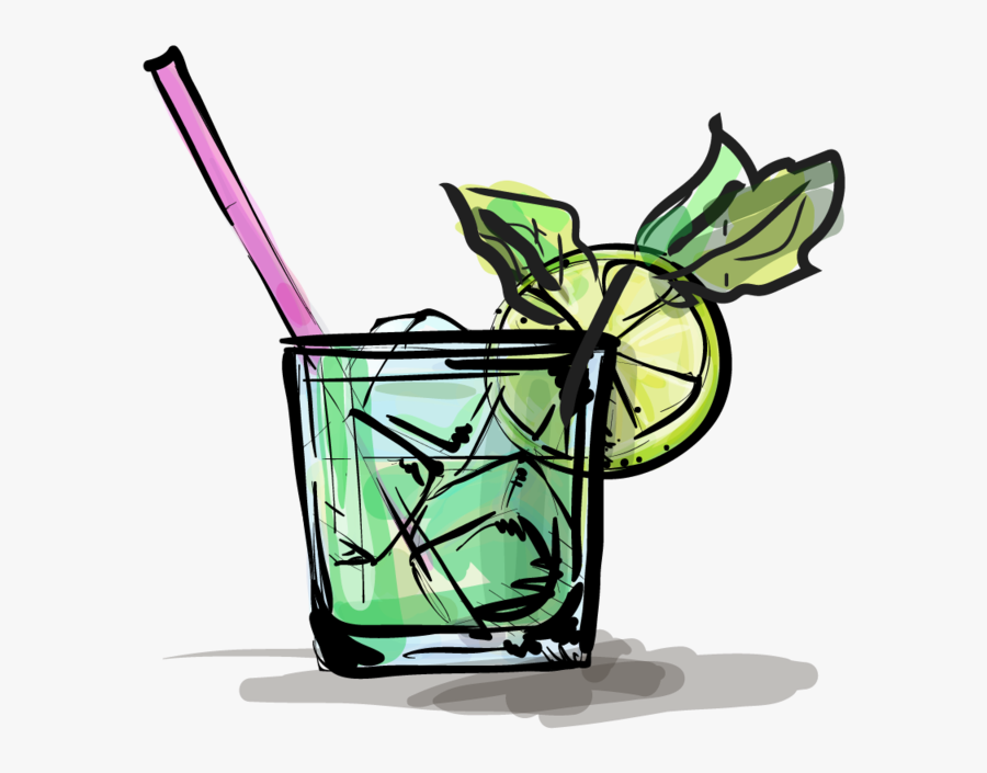 Cocktails Clipart Mojito - Gin & Tonic Vector Illustration, Transparent Clipart