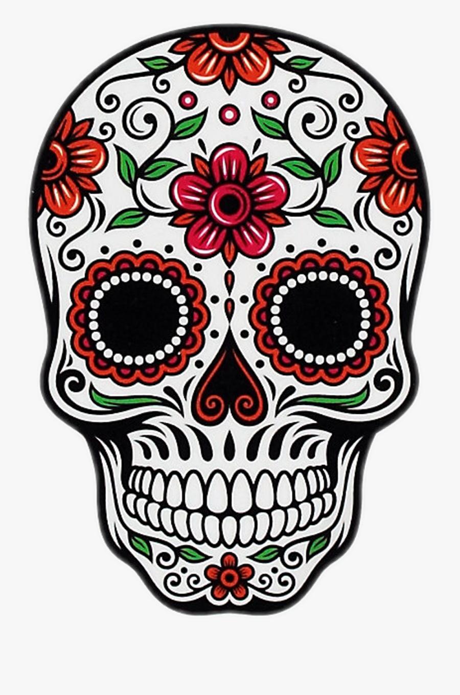 Day Of The Dead Rose Sticker Clipart , Png Download - Dia De Los Muertos Sugar Skull, Transparent Clipart