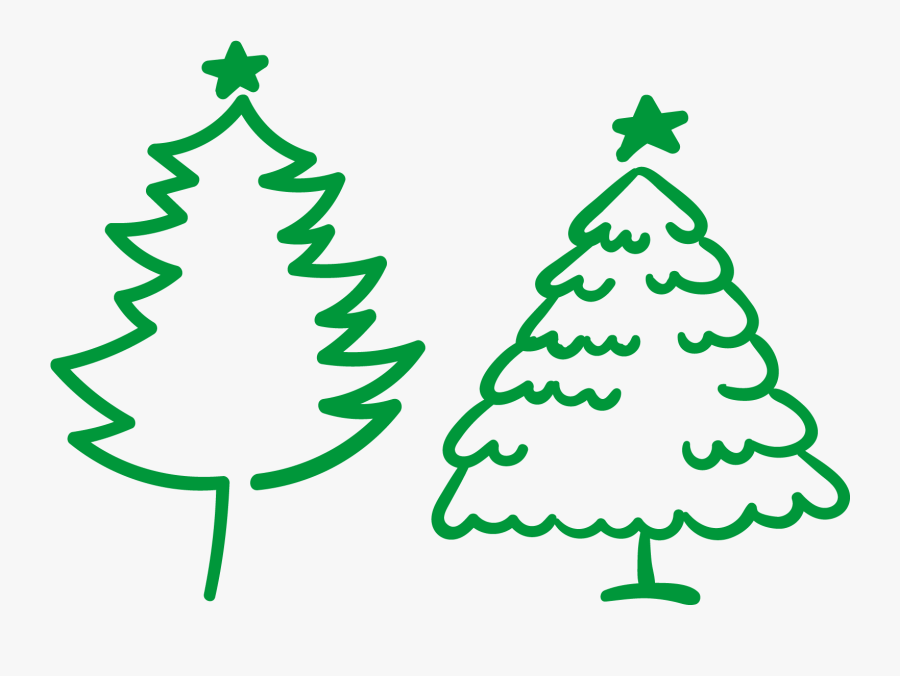 Christmas Tree Illustration - Christmas Tree Outline Png Vector, Transparent Clipart