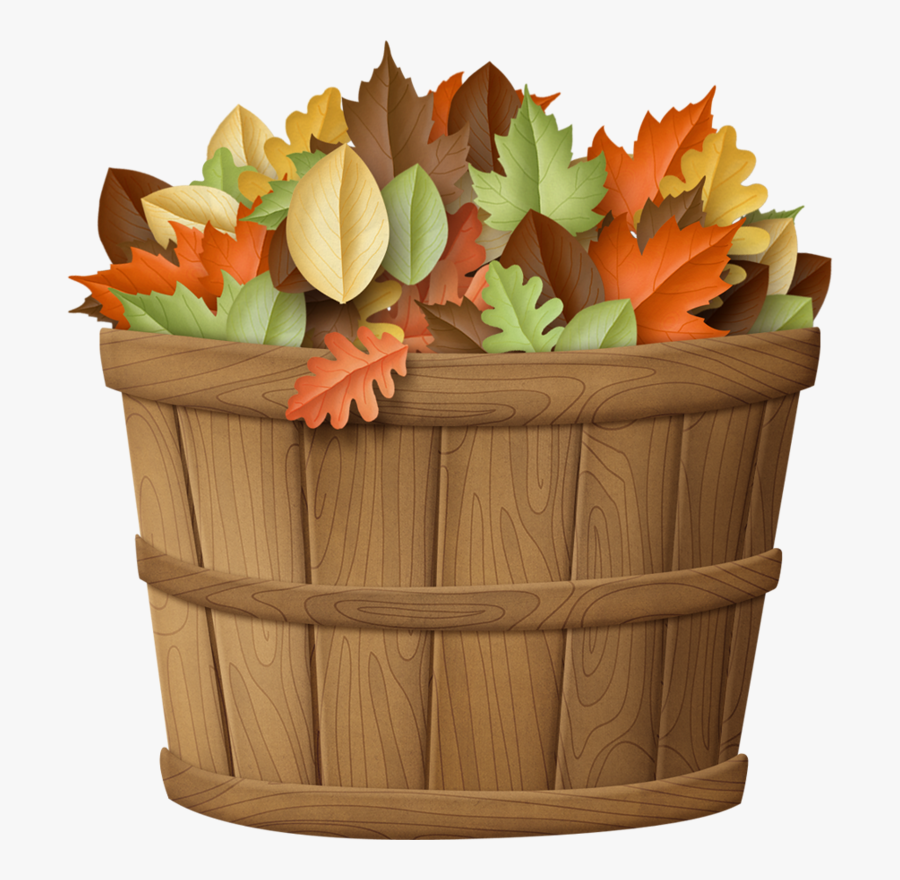 Basket Of Fall Leaves Clip Art, Transparent Clipart