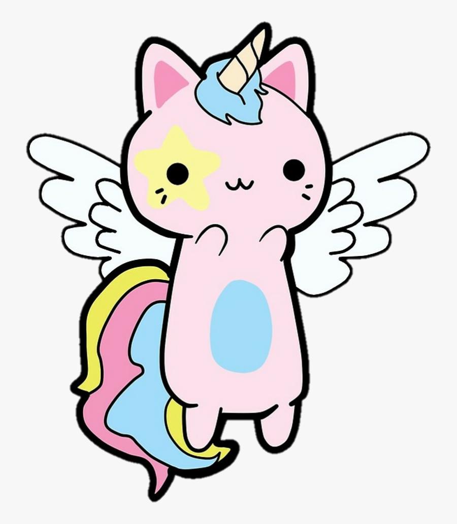 Unicorns Cats Freetoedit Remixit - Unicorn Kawaii Cat, Transparent Clipart