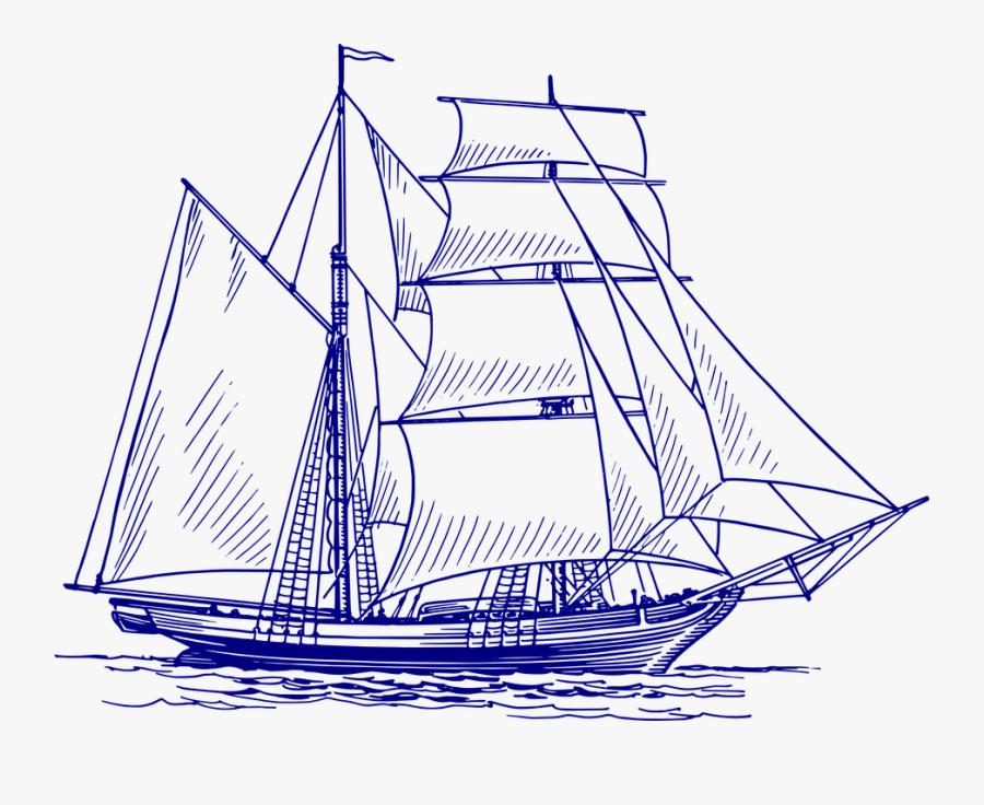 Sailing Ship, Ship, Sailing Vessel, Sea, Boat, Ocean - Ship Sail Vector, Transparent Clipart