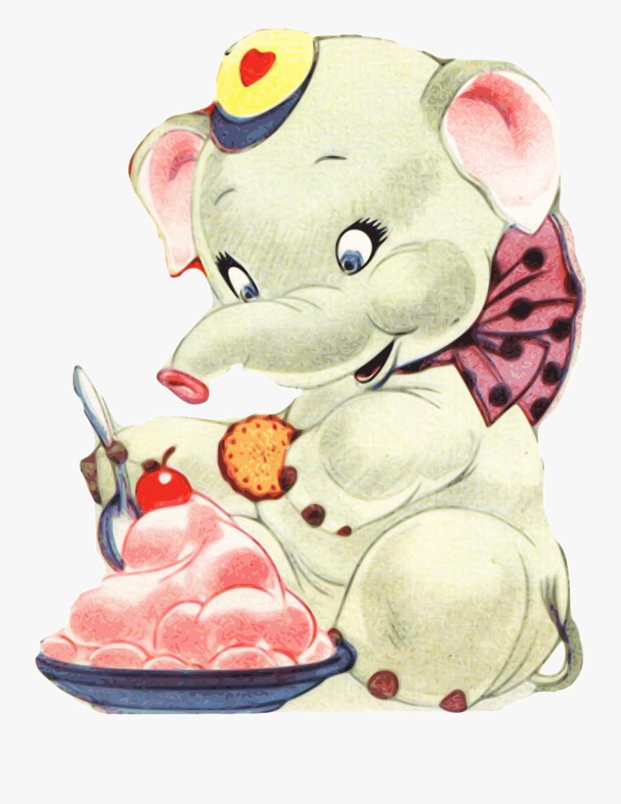 Transparent Cute Animals Png - Elephant Eating Ice Cream, Transparent Clipart