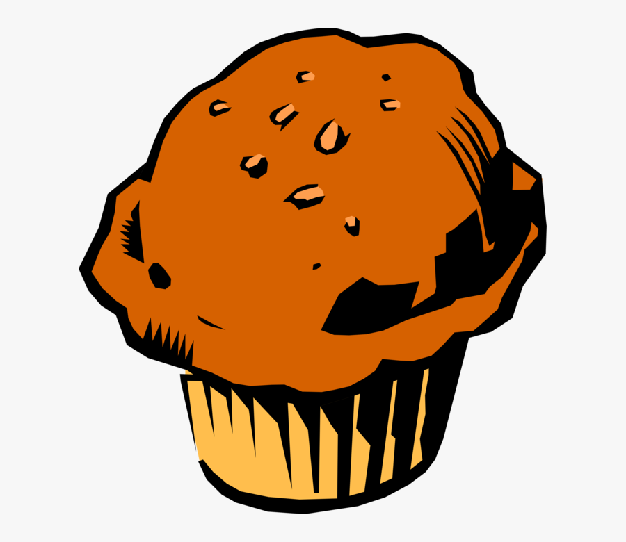 Vector Illustration Of Baked Quick Bread Muffin Eaten - Muffin Clipart, Transparent Clipart