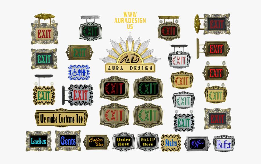 Assortment Of Custom And Preconfigured Exit Signs - Emblem, Transparent Clipart