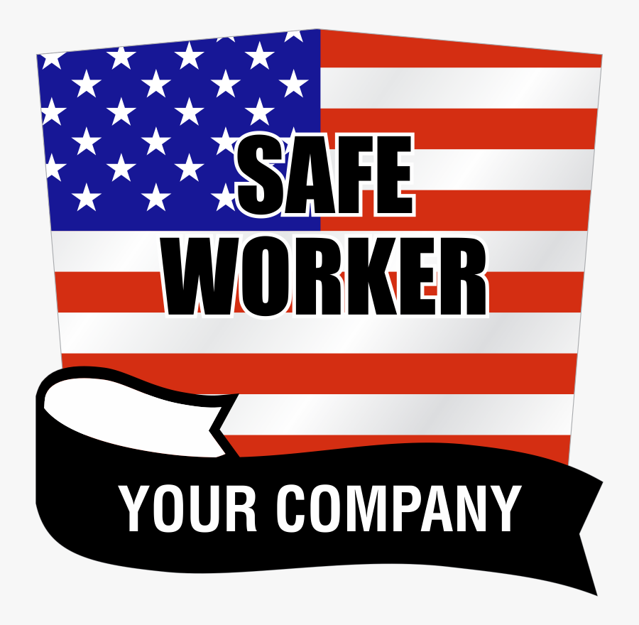 Safe Worker Add Your Company Name Custom Hard Hat Decal - Flag Of The United States, Transparent Clipart