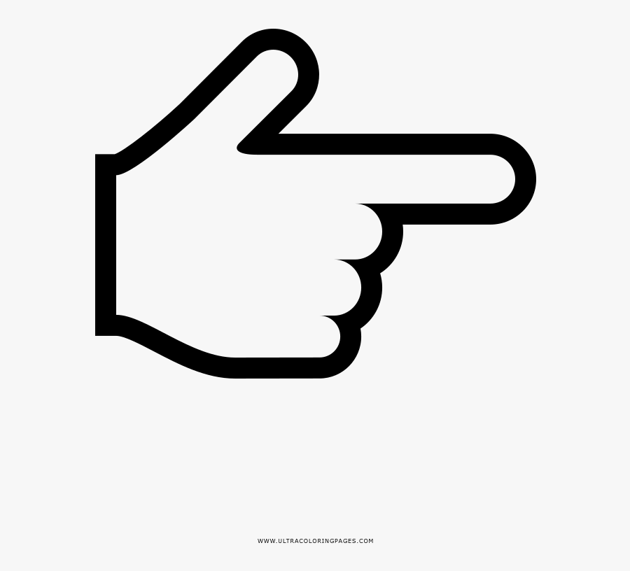 Pointing Hand Coloring Page - Mano Señalando Para Dibujar, Transparent Clipart