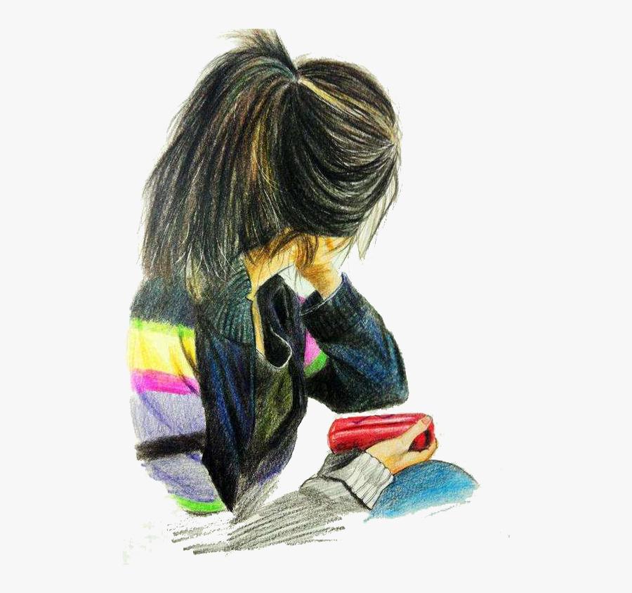 Drawn Long Hair Coloring Hair - Sketch Color Pencil Drawing, Transparent Clipart