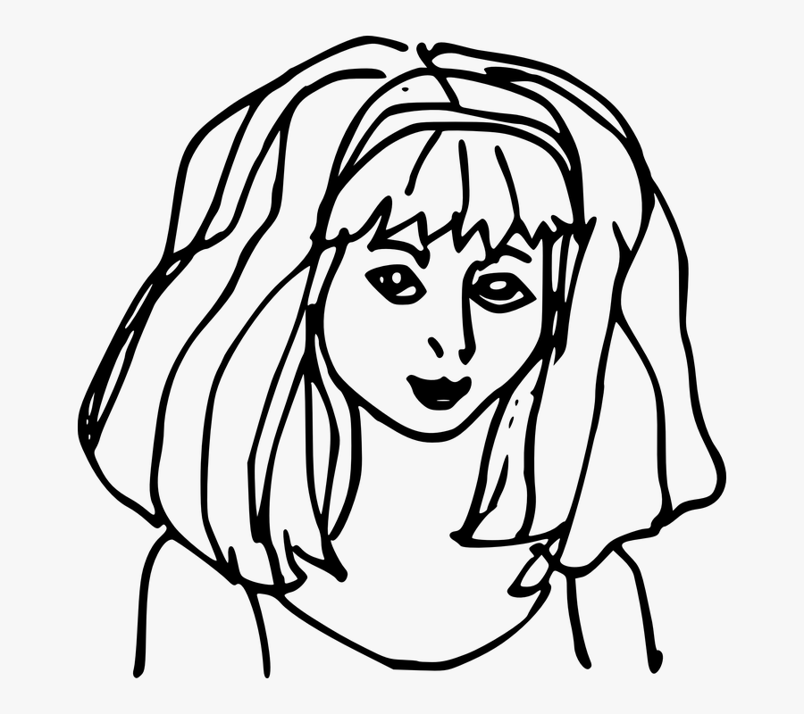Girl Hair Long Hair Style Bangs Thick - White Outline Of Face Transparent Background, Transparent Clipart