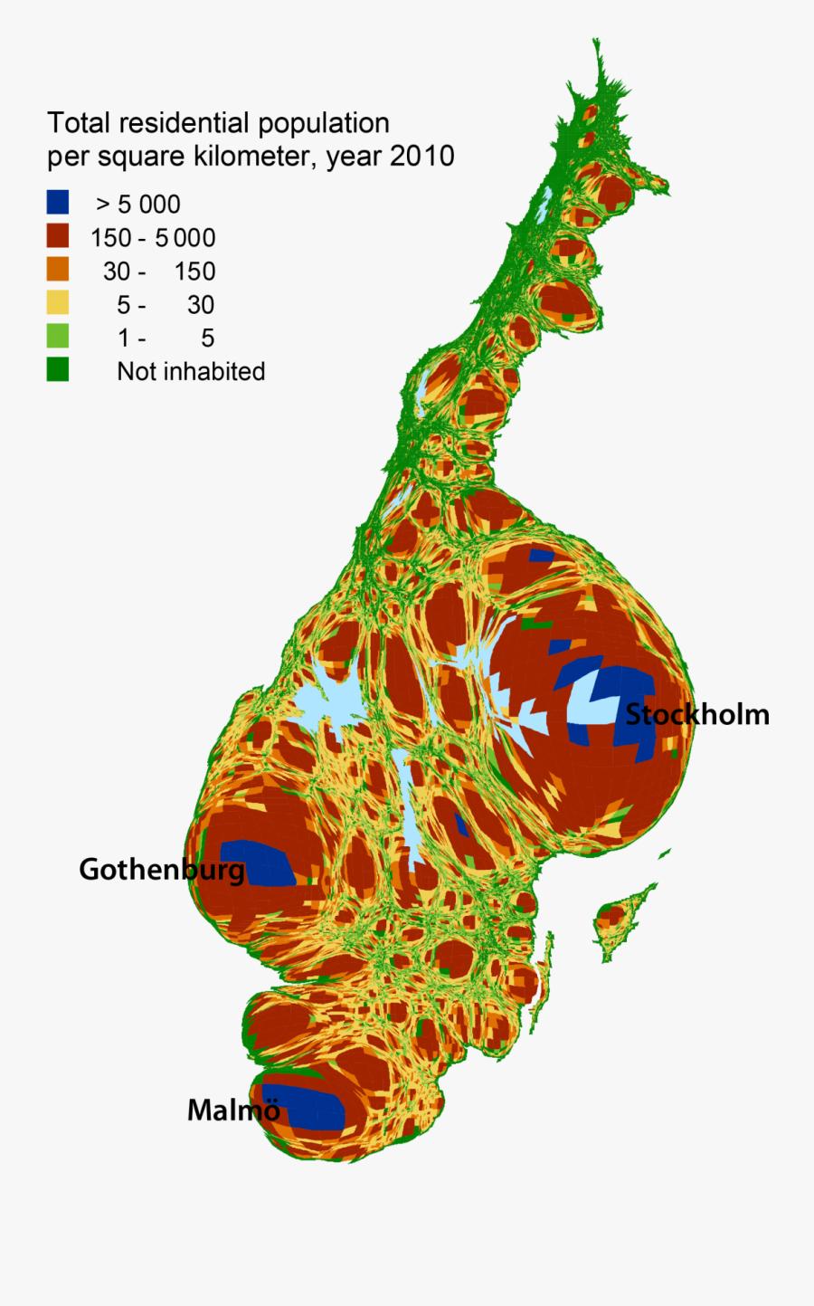 Cartogram Population Sweden - Sweden Population Distribution Map, Transparent Clipart