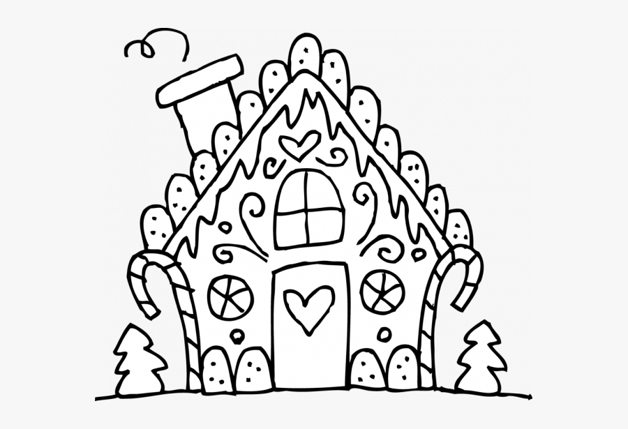 Christmas Coloring Pages Printable Gingerbread House, Transparent Clipart