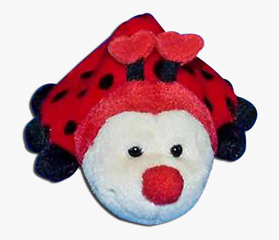 Plush Ladybug With Red Face And Heart Antennas Stuffed - Valentines Day Love Bug Plush, Transparent Clipart