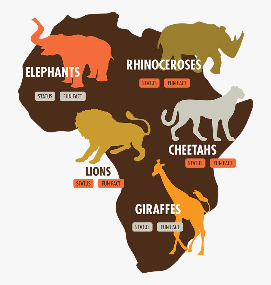 Endangered Animals In Africa Map, Transparent Clipart