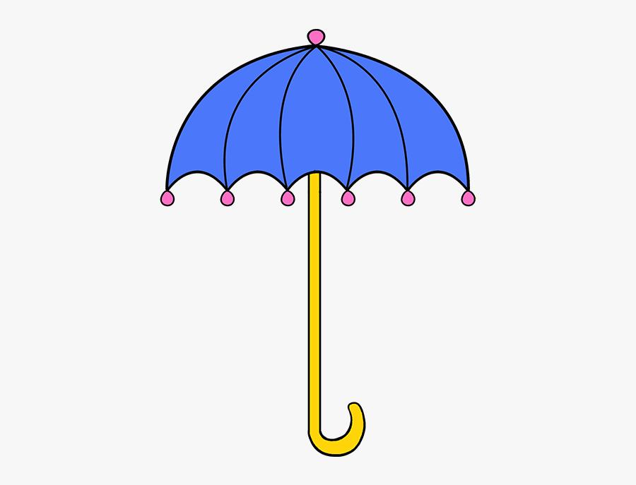 Umbrella Clip Draw - Step By Step Umbrella Drawings, Transparent Clipart