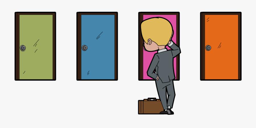 Career Change Cartoon With Multiple Doors - Clip Art Door Multiple Doors, Transparent Clipart
