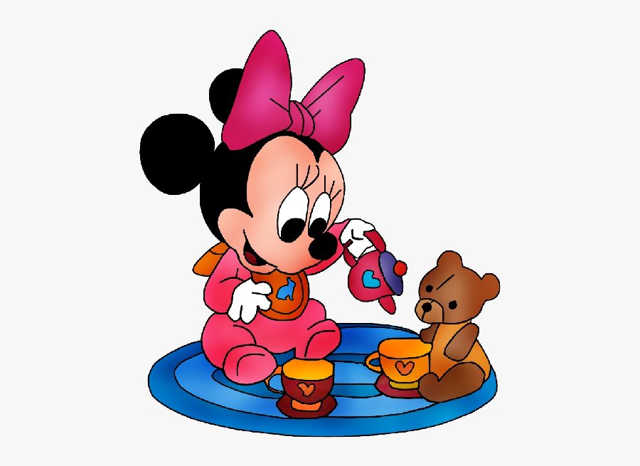 Minnie Mouse With Teddy Bear - Baby Minnie Mouse Png, Transparent Clipart