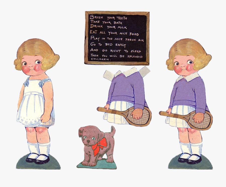 Paper Doll, Dolls, Paper, Girl, Symbol, Cutout, Vintage - Paper Dolls Clip Art, Transparent Clipart