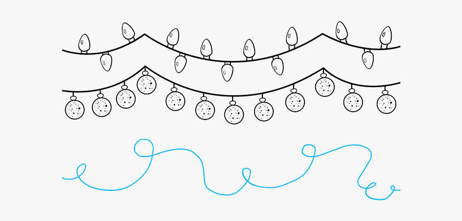 How To Draw Christmas Lights - Xmas Lights Drawing Png, Transparent Clipart