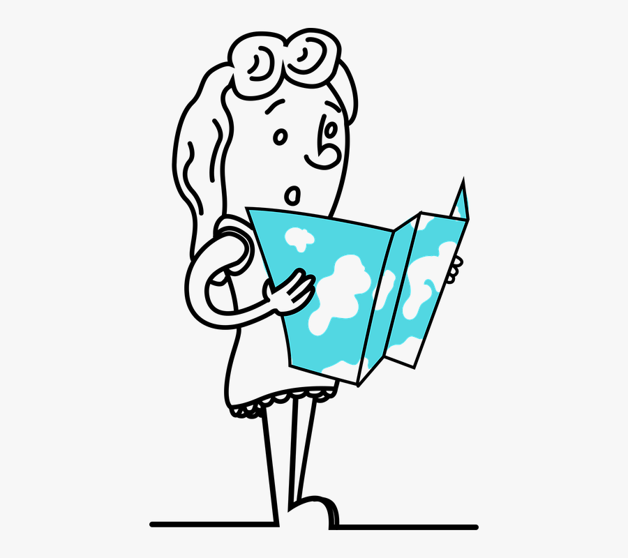 Girl, Map, Travel, World, Dress, Hair, Outline, Line - Girl With A Map Png, Transparent Clipart