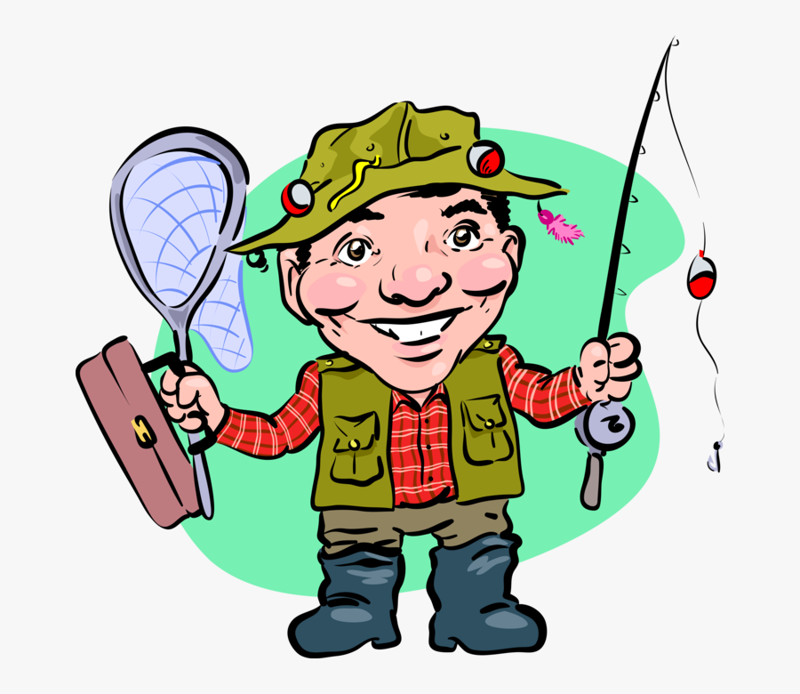 Vector Illustration Of Sport Fisherman Angler With - Clip Art, Transparent Clipart
