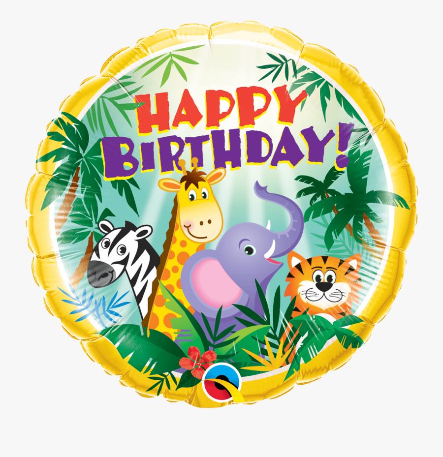 18 - Happy Birthday Safari Animals, Transparent Clipart