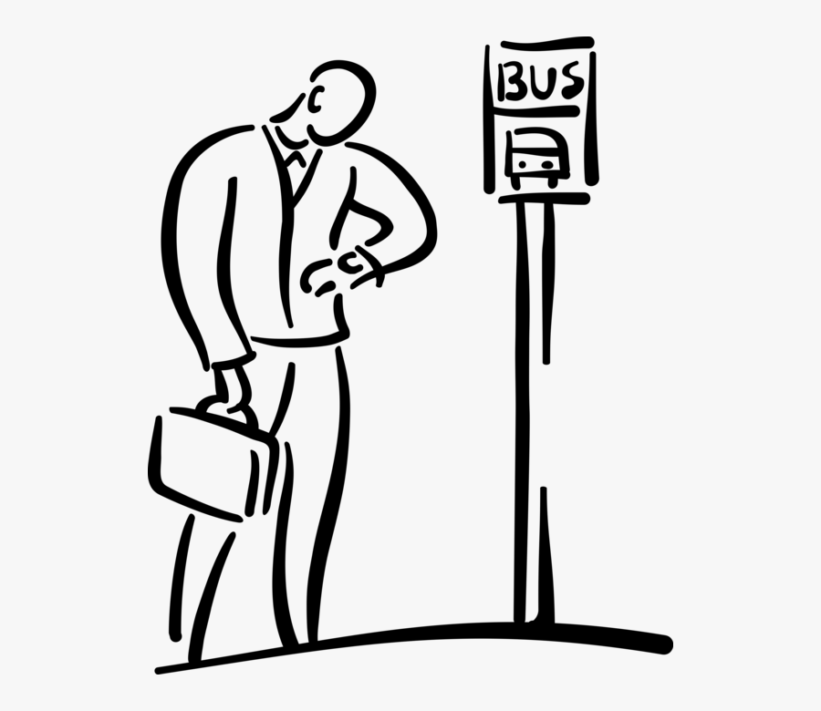 Vector Illustration Of Commuter Passenger Checks Time - Waiting At The Bus Stop, Transparent Clipart