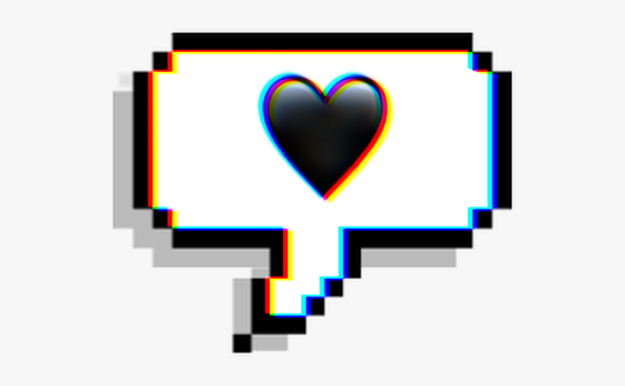 #chat #emoji #text #heart #black #glitch #effect #aesthetic - Stickers Png, Transparent Clipart