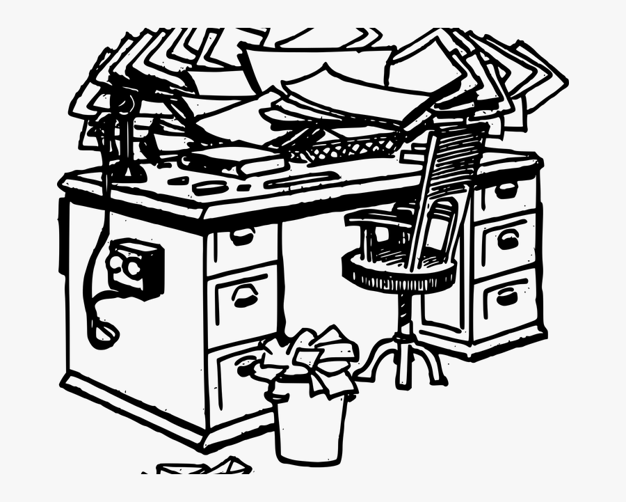 Messy Desks Yield Creativity - Procrastination Black And White Clipart, Transparent Clipart