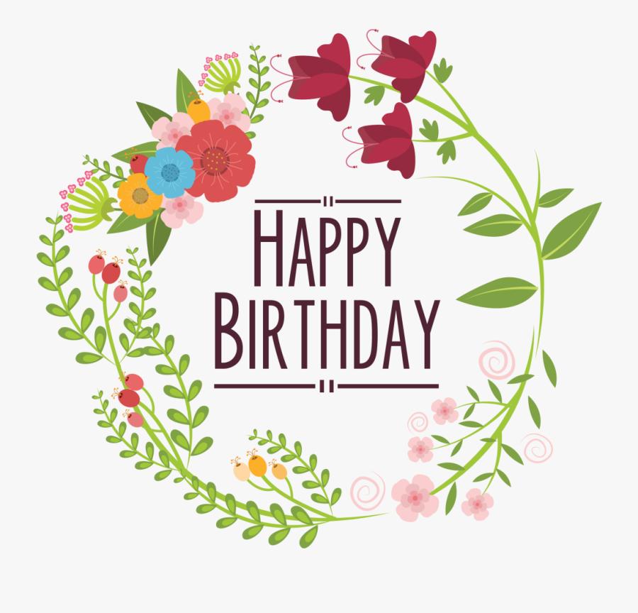 Floral Design Clip Art - Happy Birthday Letters Design Transparant, Transparent Clipart