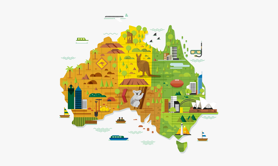 City Australia Map Of Illustration Melbourne World - Cute Map Of Australia, Transparent Clipart
