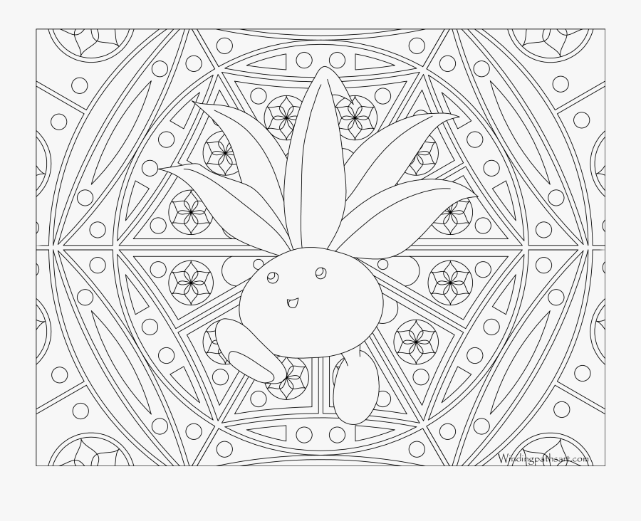 Oddish Coloring Pages - Pokemon Mandala Coloring Pages, Transparent Clipart