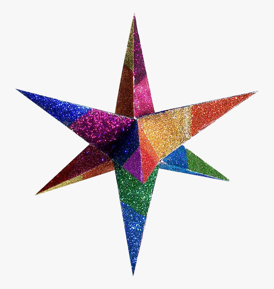 Paper Star Cliparts - Color Full Star 3d, Transparent Clipart