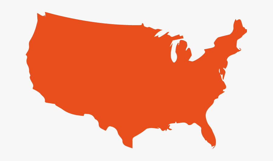 Black United States Outline, Transparent Clipart