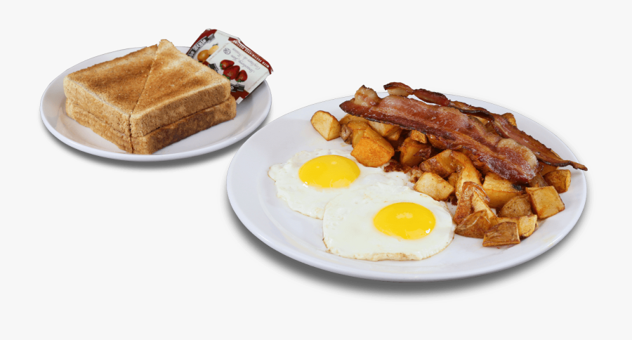 Transparent Bacon And Egg Clipart - Two Eggs With Home Fries, Transparent Clipart